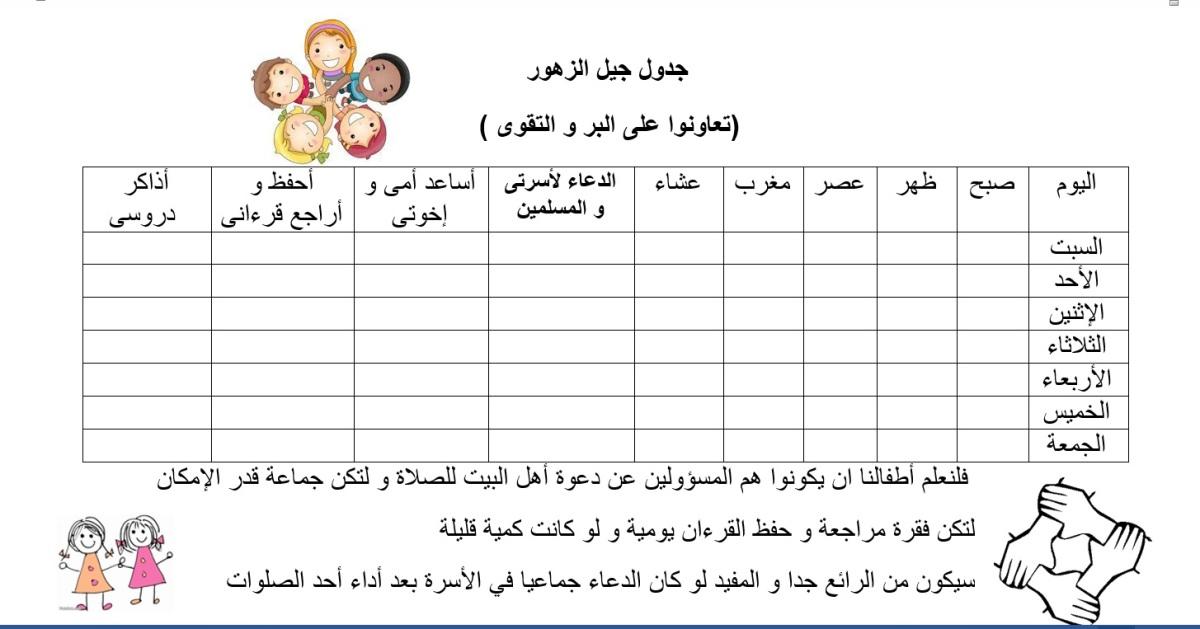 جدول التعاون